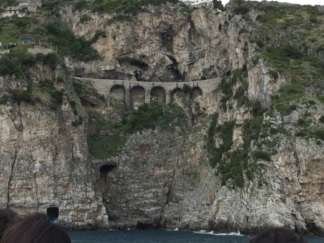 Bridge built into cliffside